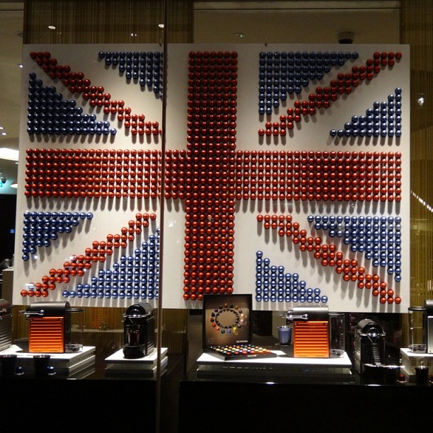 British Flag made from @Nespresso Pods! (Nespresso Store, Knightsbridge, London) @wilkes888  -> Nespresso London