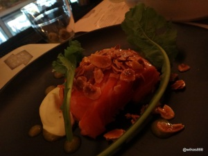"The John Salt - ""Wild Salmon Poached in Maple Syrup"" (Toasted almonds, kaffir lime & rotten mango juice)"