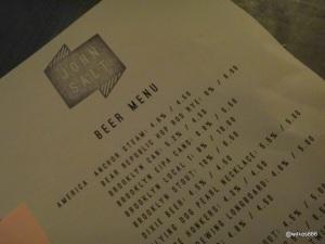 The John Salt - Beer Menu
