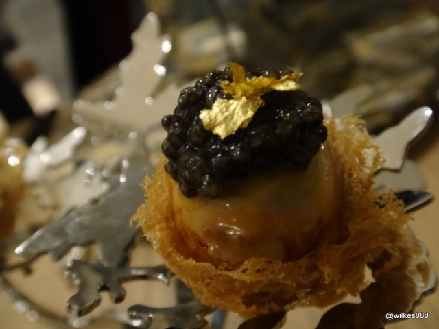 "Bo London - ""Bed & Breakfast"" (Smoked quail's egg on a crispy taro nest with Oscietra caviar topped with gold leaf)"
