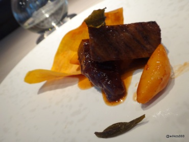 HKK - Jasmine Tea Smoked Wagyu Beef (served with water chestnut and sweet potato, garnished with tea leaves)