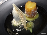 HKK - Pineapple Fritter, salted lime jelly, vanilla ice cream