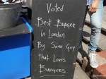 "Burger Challenge at Lower Marsh Market - The Ring Bar, ""Voted Best Burger in London by Some Guy That Loves Burgers"""