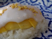 The Begging Bowl - Mango and sticky Rice Pudding garnished with Mung Beans