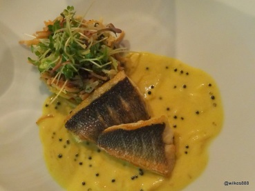 "Benares Restaurant (Mayfair) - ""Meen Moilee"" (Pan-Roasted Wild Sea Bass, Vermicelli, Coconut and Curry Leaf Sauce)"