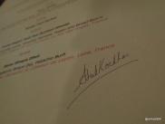 Benares Restaurant (Mayfair) - Menu signed by Atul