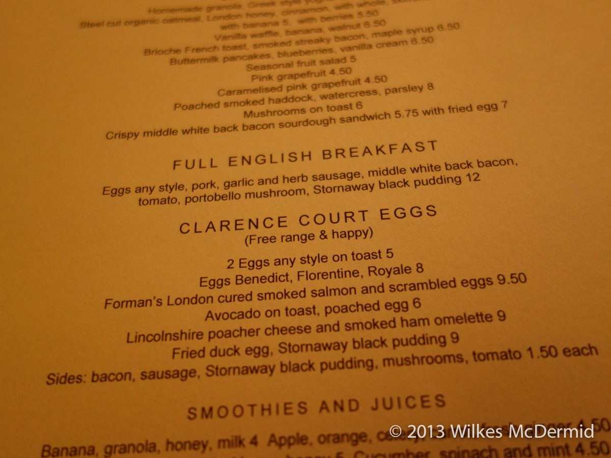 Berners Tavern - Breakfast, Full English or a selection Clarence Court Eggs