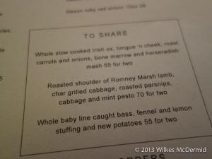 Berners Tavern - Dinner Menu - Sharing Plates