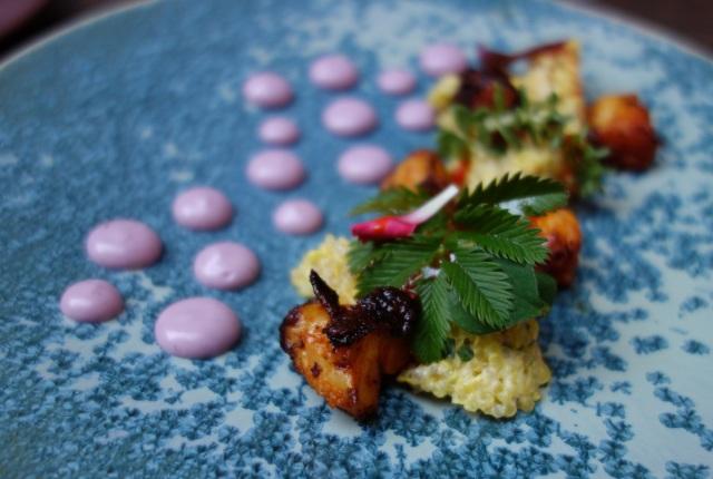Lima Restaurant London - Octopus Olivio (Braaised octopus. Organic white quinoa. Bojita olive. Red shiso)