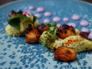 Lima Restaurant London - Octopus Olivio (Braaised octopus. Organic white quinoa. Bojita olive. Red shiso)