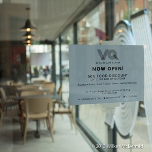 VQ: Opening Offer, 50% off food until the end of October