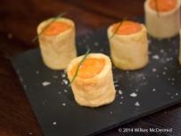 Patatas Bravas served as potato rolls with brava sauce