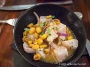 Ceviche (Stone bass marinated in lime, chilli, coriander)