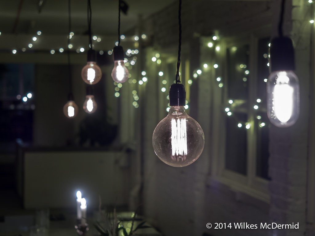 The de rigeur 'Edison style' filament bulbs