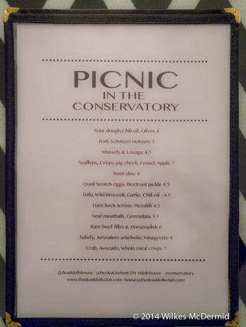 Picnic in the Conservatory - Menu