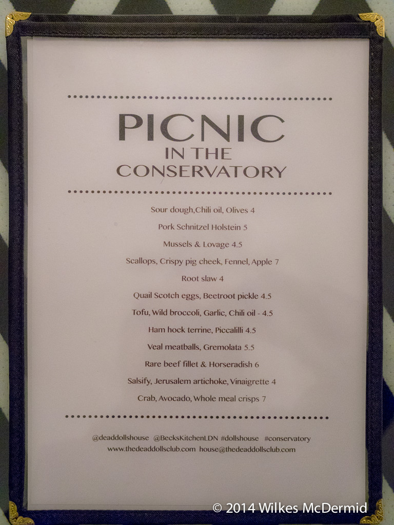Picnic in the Conservatory - Menu