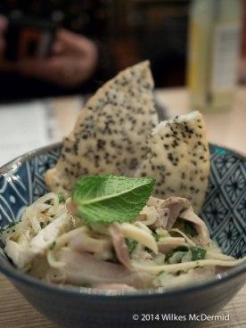 Goi Ga (Shredded chicken, Vietnamese Herbs, with Black Sesame Crackers)