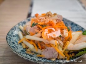 Goi Ngo Sen (Pickled lotus stems, carrot, daikon with prawns and pork belly)