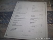 One A4 sheet sized food menu with drinks on the reverse