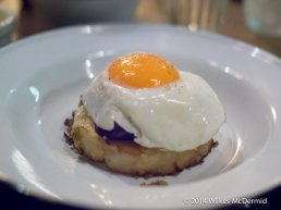 """Bubble & Squeak with Black Pudding, Apple Chutney & A Fried Egg"""