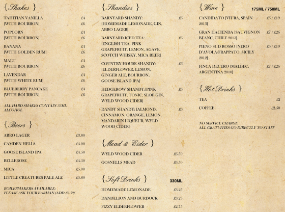 Barnyard Menu - Drinks