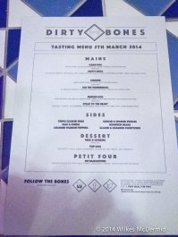 Our menu for the night...