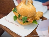 """Po Boy Parisienne"" from Bar Boulud (Soft Shell Crab on a roll served with cucumber mint-salad, fresh lime & harissa mayo)"