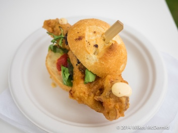 """""""Po Boy Parisienne"""" from Bar Boulud (Soft Shell Crab on a roll served with cucumber mint-salad, fresh lime & harissa mayo)"""