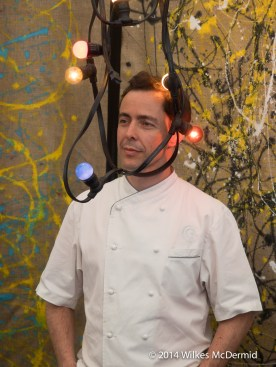 Chef tangled in lights