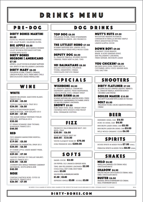 Dirty Tommi's Food menu